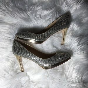 "Silver & Gold 3.5"" Heels with Platform SZ 8"